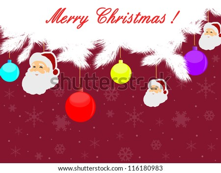 christmas background with Santa and balls, vector illustration