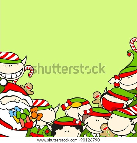 Christmas background with Santa Claus and elves - stock vector