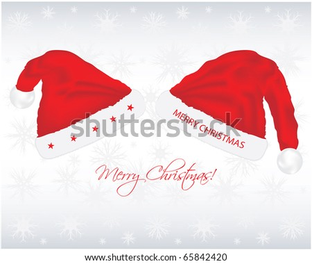 Christmas background with santa hats - stock vector