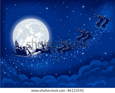 Christmas background with Santa sleigh, illustration - stock vector