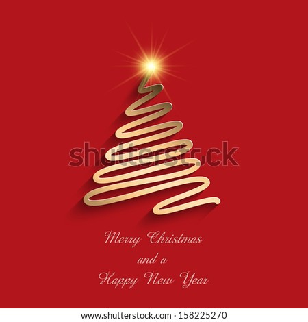 Christmas background with scribble tree design and text