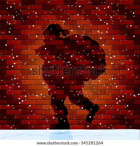 Christmas background with Shadow of Santa on a brick wall, illustration. - stock vector