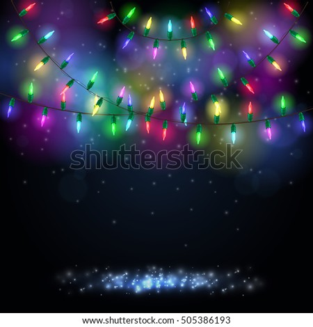 Christmas background with shining colorful lights. Vector illustration
