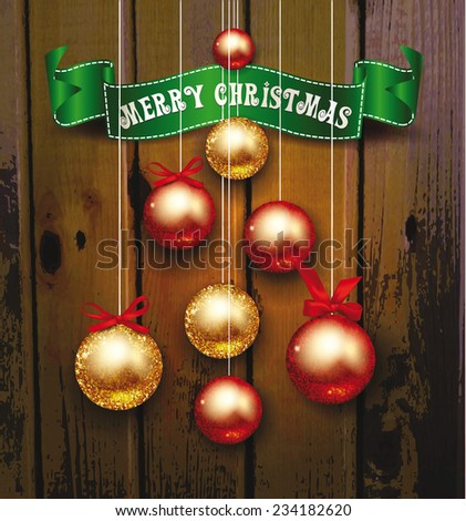christmas background with shiny balls and green ribbon with the wooden background - stock vector