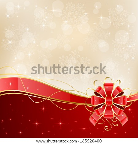 Christmas background with shiny red bow, illustration.Red bow - stock vector
