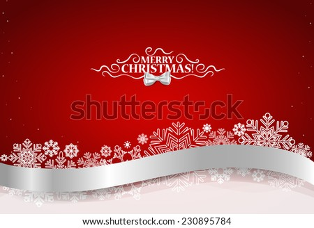 Christmas background with shiny ribbon on red background. Vector illustration. - stock vector