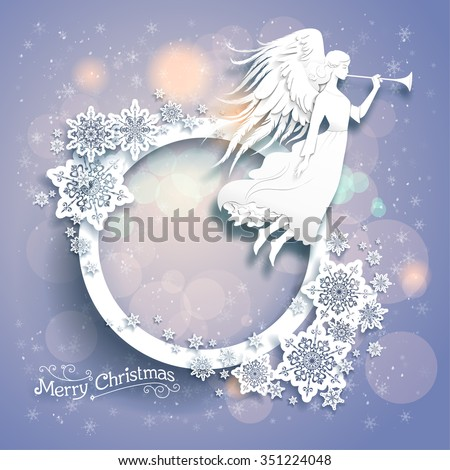 Christmas background with silhouette of an angel on a snowy background. Luxury Christmas design for card, banner,ticket, leaflet and so on. - stock vector