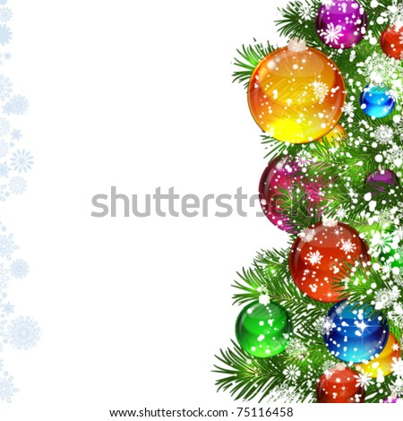 Christmas background with snow-covered Christmas tree decorated with glass balloons - stock vector