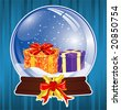 Christmas Background with snow globe, element for design, vector illustration - stock vector