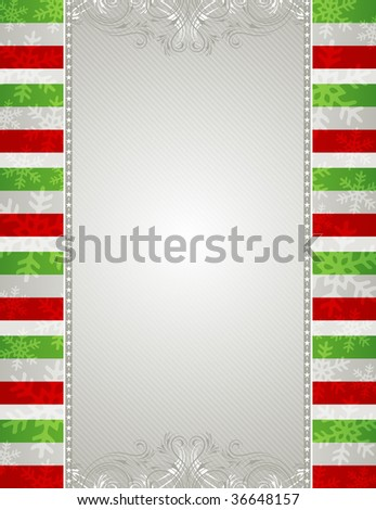 christmas background with snowflakes and  decorative frames - stock vector