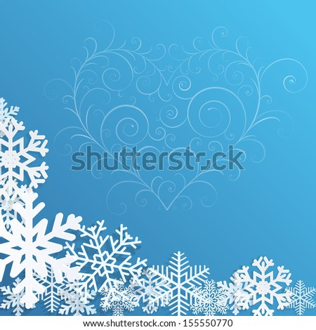 Christmas background with snowflakes and heart on blue - stock vector