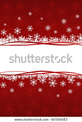 Christmas background with snowflakes in red color. Image has free space for Your text - stock vector