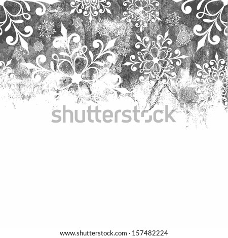 Christmas background with snowflakes. Monochrome christmas background. - stock vector