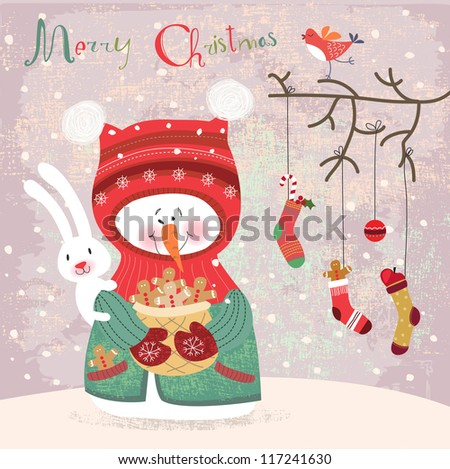 Christmas background with snowman - stock vector