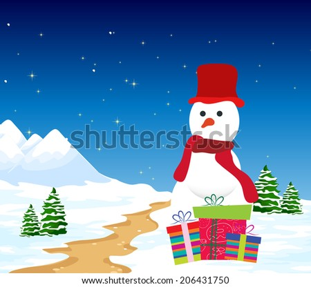 Christmas Background with snowman and gift - stock vector