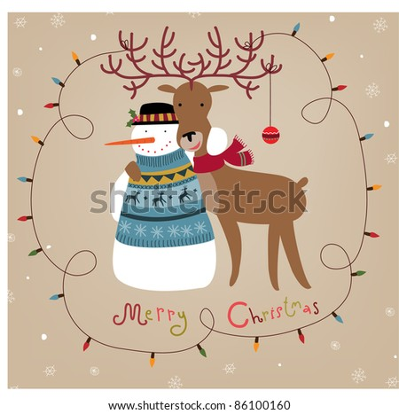 Christmas background with snowman and reindeer - stock vector