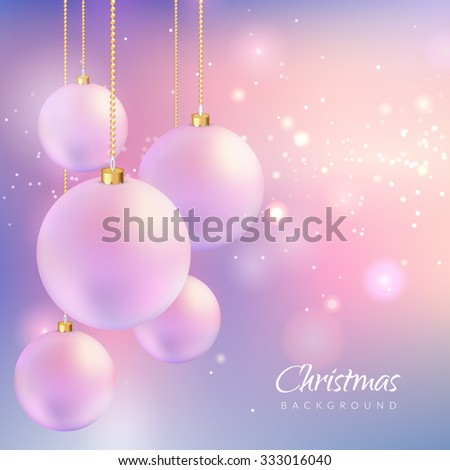 Christmas background with sparkles and balls. Vector illustration. EPS 10