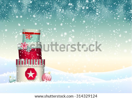 Christmas background with stack of colorful presents in snowy landscape, vector illustration, eps 10 with transparency and gradient meshes