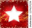 Christmas background with stars, snow flakes and wavy lines on red background with blurred light dots for your festive occasions. - stock photo