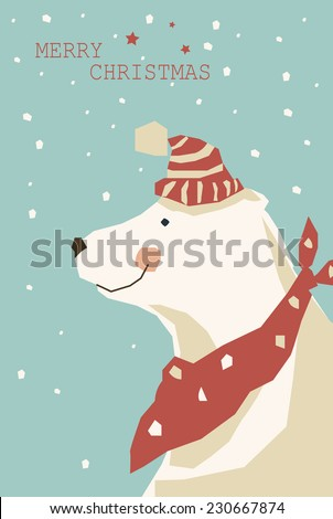 Christmas background with the image of a polar bear  - stock vector