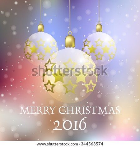 Christmas background with three Christmas baubles / Christmas greeting card with Christmas balls