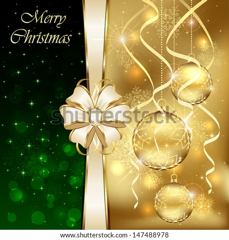 Christmas background with three golden baubles and beige bow, illustration. - stock vector