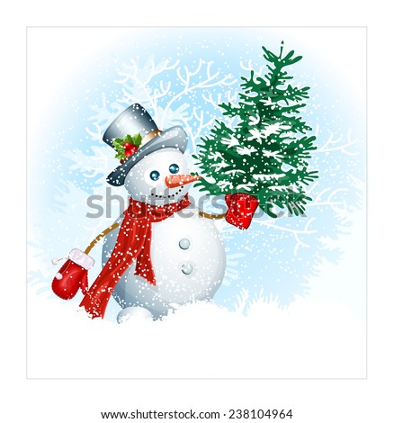 Christmas background with traditional Christmas symbols. Vector illustration - stock vector