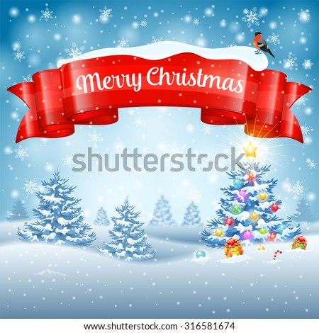 Christmas Background with Tree, Gifts, Ribbon, Snowflakes and Bullfinch on Snowy background. Vector Template for Cover, Flyer, Brochure, Greeting Card. - stock vector