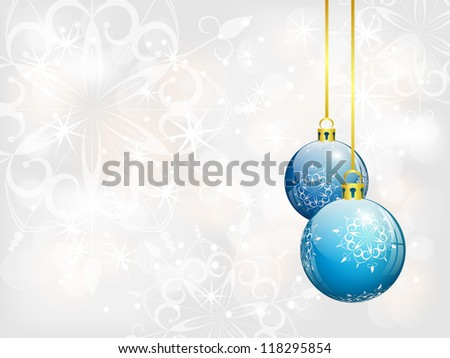 christmas background with two blue balls, vector illustration, with gradients, transparency and gradient meshes, eps 10