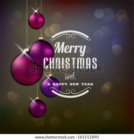 Christmas background with violet evening balls - stock vector