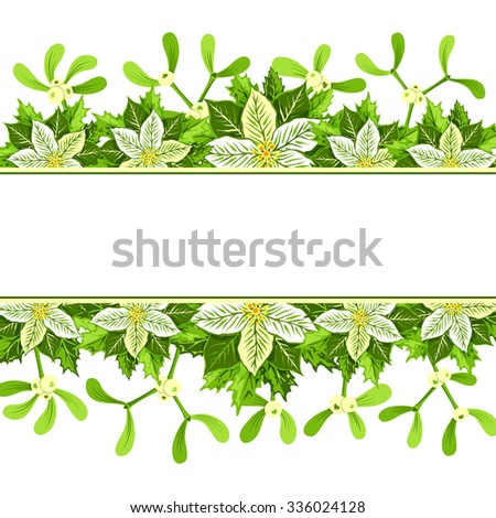 Christmas background with white poinsettia, mistletoe and holly leaves decoration elements. Horizontal banner with copy space for your text. - stock vector