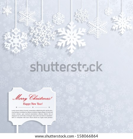 Christmas background with white snowflakes and frame with inscription - stock vector