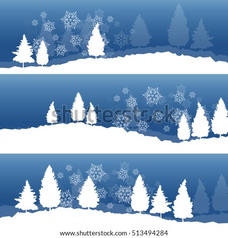 Christmas background with winter white snowy fir trees and falling snowflakes vector