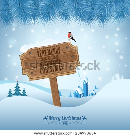 Christmas background with Wooden Plaque, Fir Branches and Bullfinch. Vector Template for Cover, Flyer, Brochure. - stock vector