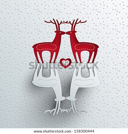 christmas backgrounds deer paper art  - stock vector