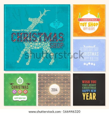 Christmas Badge, Tags, Labels, Banner, Cards Set - Vector Collections - stock vector