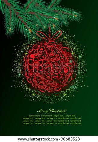 christmas ball  background - stock vector
