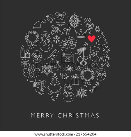 Christmas ball - black and white line icons, arranged in circle - stock vector