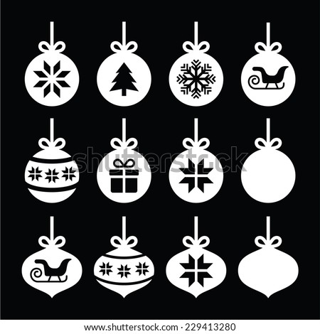 Christmas ball, Christmas bauble white icons on black - stock vector
