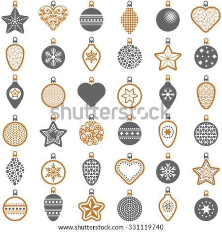 Christmas ball collection - vector illustration  - stock vector