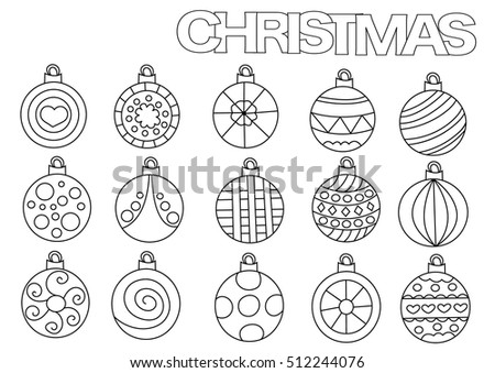 Christmas Ball Decoration Outlined Shape Coloring Stock Vector ...