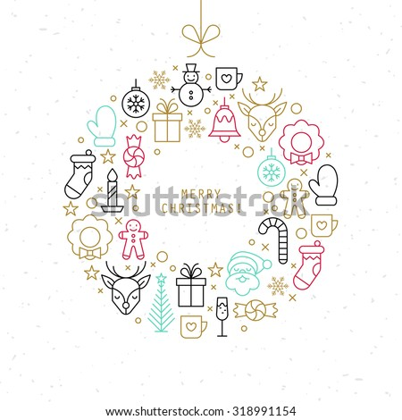 Christmas ball design with thin line icons. Vector illustration - stock vector
