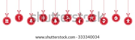 christmas ball elements hanging row red isolated background - stock vector