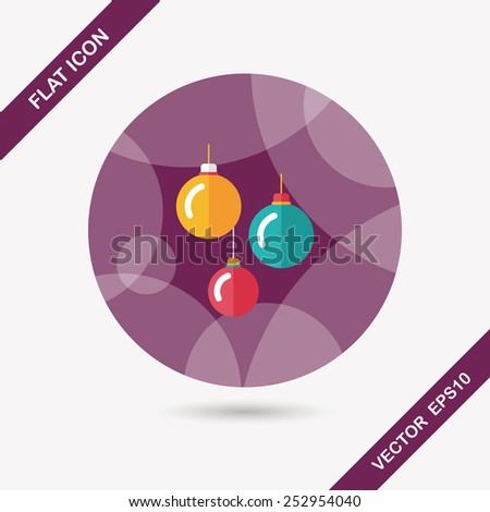 Christmas ball flat icon with long shadow,eps10 - stock vector