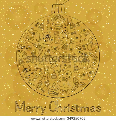Christmas ball greeting card with text Merry Christmas and many winter doodles. Santa, toys, cookies, snowmen, fir, candies, socks, gifts, bows, snowflakes, stars, hollies, mittens, etc.