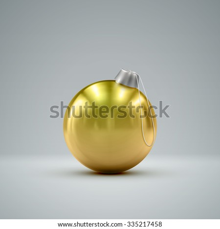 Christmas ball. Holiday vector illustration of traditional festive Xmas bauble. Merry Christmas and Happy New Year poster design element.  - stock vector