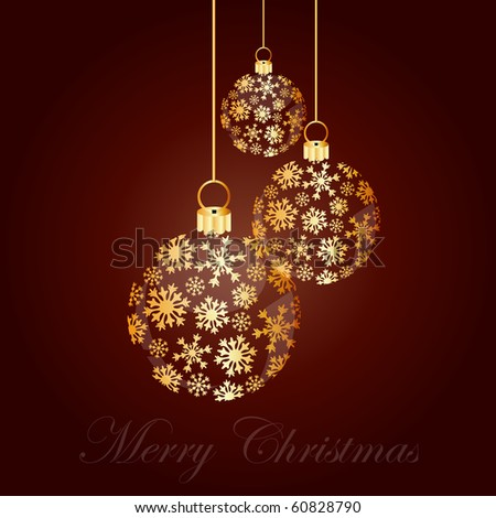Christmas ball made from golden snowflakes - stock vector