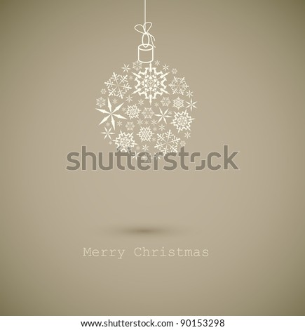 Christmas ball made from gray snowflakes on gray background - Christmas card - stock vector