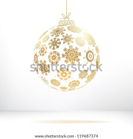 Christmas ball made from snowflakes.  + EPS8 vector file - stock vector