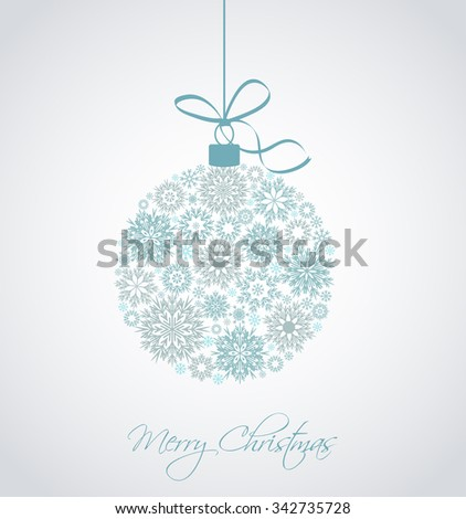 Christmas ball made from snowflakes vector illustration - stock vector